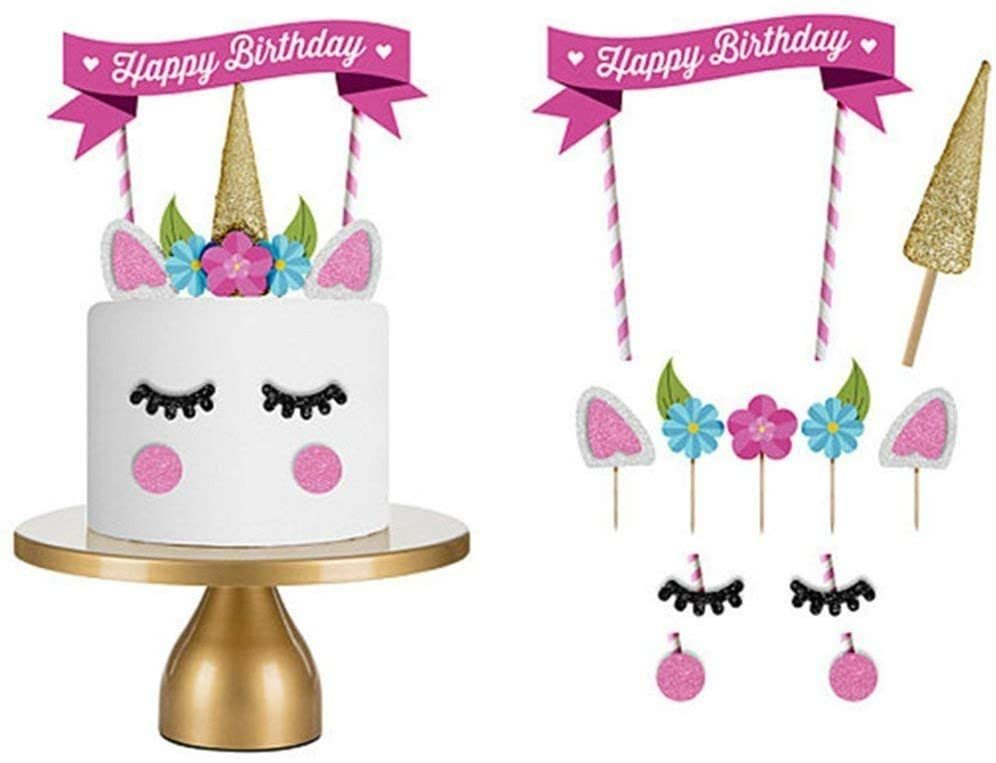 Buy Doreen 1 Set Unicorn Birthday Cake Topper Flower Eyelashes Happy Birthday Party Cake Decor Set Handmade Baby Children Party Decoration Online Shop Stationery School Supplies On Carrefour Uae