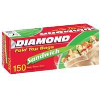 Diamond Fold Top Sandwich Bags 150 Pieces