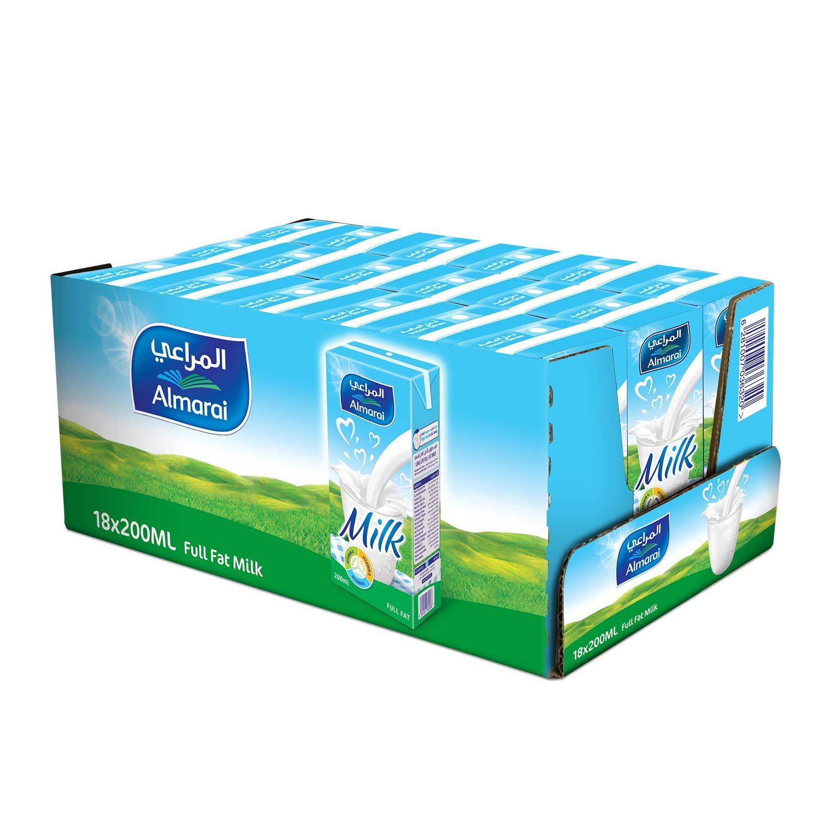 Buy Almarai Long Life Milk Full Fat 200 Ml X 18 Online Shop Fresh Food On Carrefour Saudi Arabia