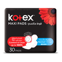 Kotex Plus Wings Maxi Pads  Pack of 30