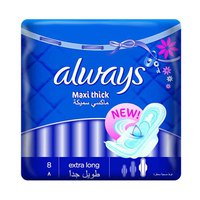 Always Ladies Pads Maxi Thick Extra Long Wings 8 Pads