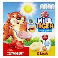 Zott Milk Tiger Fresh Strawberry And Banana Cheese 200g