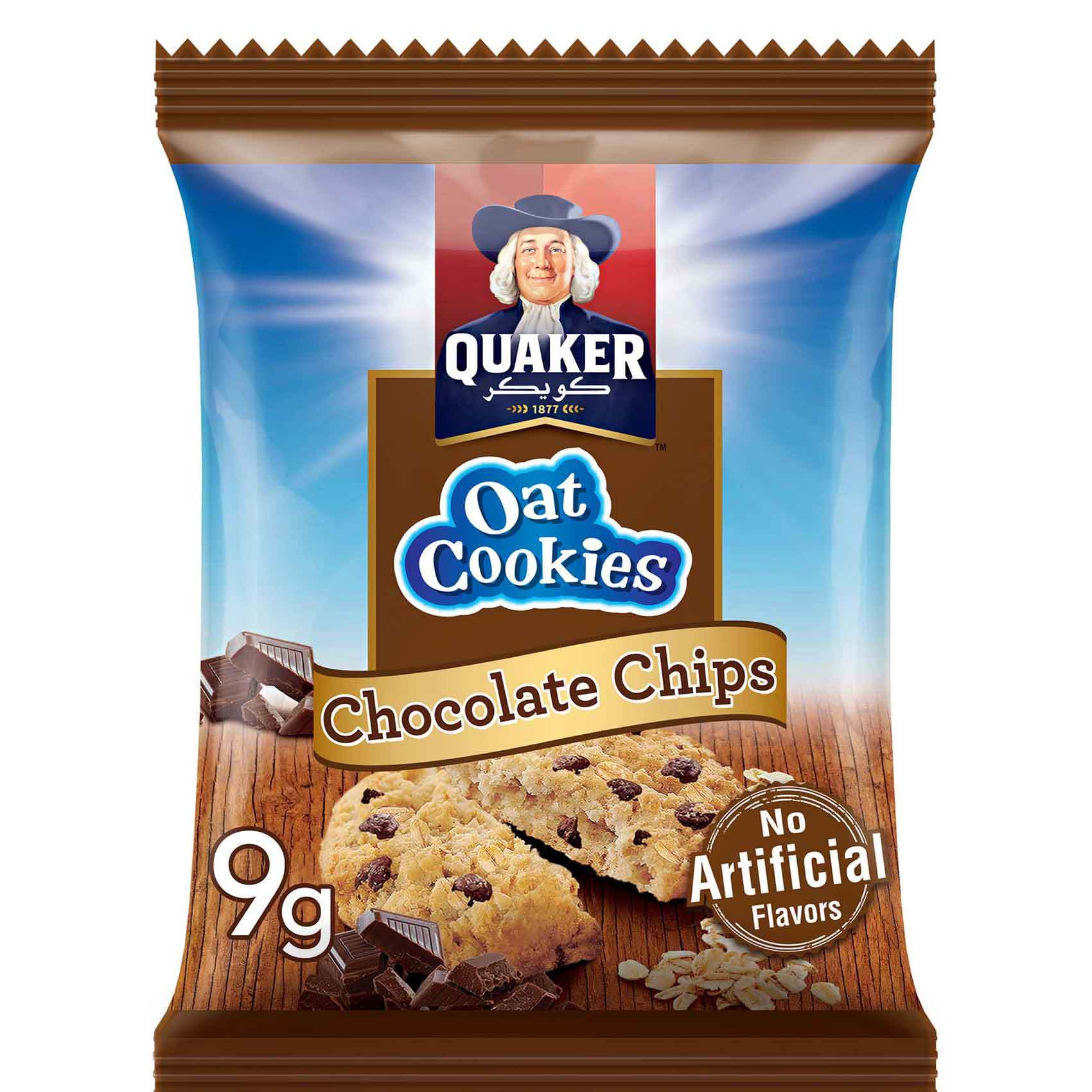 Buy Quaker Oat Cookies Chocolate Chips 9g Online Shop Food Cupboard On Carrefour Uae