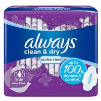 Always Clean & Dry Ultra Thin Large Sanitary Pads with Wings 8 Pads