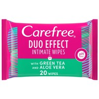 Carefree Daily Intimate Wipes Duo Effect with Green Tea and Aloe Vera Pack of 20 wipes