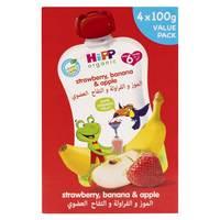 Hipp Organic Strawberry, Banana & Apple 100g x Pack of 4