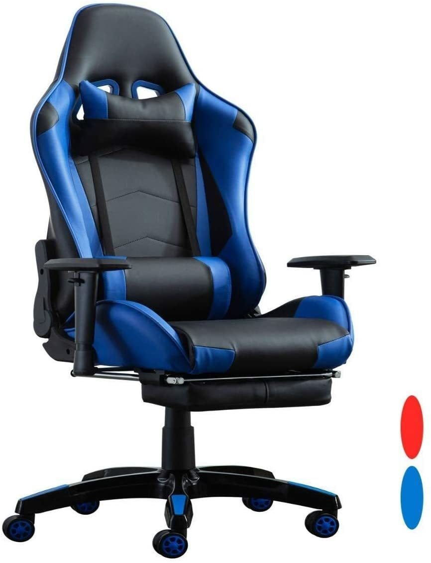 Buy Lanny Racing Video Gaming Chair Lk2171 With Footrest Lumbar Swivel Pu Leather Home Office Computer Desk Chair Color Blue Online Shop Home Garden On Carrefour Uae