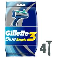 Gillette Blue Simple3 Men's Disposable Razors, 4 Count