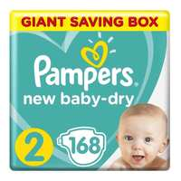Pampers New Baby-Dry Diapers Size 2 Mini 3-8kg Giant Box 168 Count