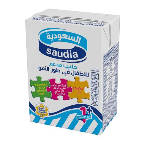 Buy Saudia Junior Fortified Growing Up Milk Long Life 200 Ml X 24 Pieces Online Shop Fresh Food On Carrefour Saudi Arabia