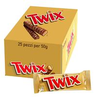 Twix Twin Chocolate Bars 50g x Pack of 25