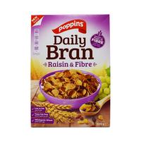 Poppins Daily Bran Cereal Raisin & Fiber 500GR