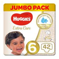 Huggies extra care size 6 jumbo pack 15+ Kg 42 diapers