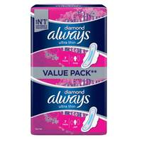 Always Diamond Ultra Thin Sanitary Pad Value Pack Long Pads x Pack of 14