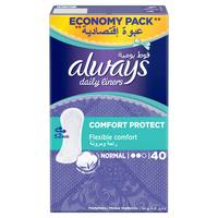 Always Daily Liners Comfort Protect Normal 40 Count
