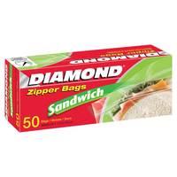 Diamond Zipper Sandwich Bags 50 Pieces