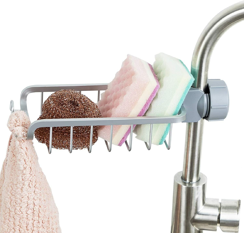 Buy One To Four Aluminum Faucet Sponge Holder Kitchen Sink Caddy Organizer Durable Storage Drain Rack Hanging For Kitchen Bathroom Silver Online Shop Home Garden On Carrefour Uae