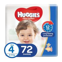 Huggies Ultra Comfort Baby Diapers Size 4, 8 - 14kg 72 Counts