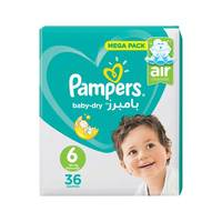 Pampers Baby-Dry Diapers Size 6 Extra Large Jumbo Pack 36 diapers