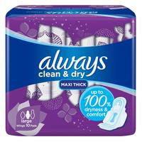 Always Clean & Dry Maxi Thick Large Sanitary Pads with Wings 10 Pads