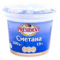 President Cmetaha 15% Fat Sour Cream 200g