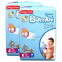 Sanita Bambi Baby Diapers Mega Pack Size 4 Large 8-16kg 80 Count x2