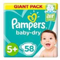 Pampers Baby-Dry Diapers, Size 5+, Junior +, 12-17 kg, Giant Pack, 58 Count