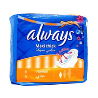 Always Ladies Pads Maxi Thick Normal Wings 10 Pads