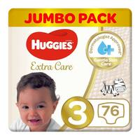 Huggies extra care size 3 jumbo pack 4-9 Kg 76 diapers