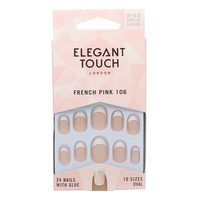 Elegant Touch 10 Size French 106 Artificial Nails - Pink, 24 Piece