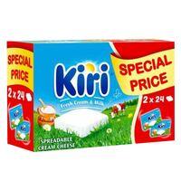 Kiri Spreadable Cream Cheese Squares 24 portions x 2 packs 48 portions 864g