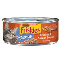 Purina Friskies Shreds Chicken and Salmon Dinner in Gravy 156g
