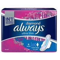 Always Diamond Ultra Thin Sanitary Pads Extra Long Pads x Pack of 6
