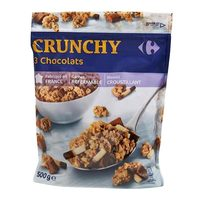 Carrefour crunchy 3 chocolate muesli cereals 500 g