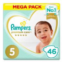 Pampers Premium Care Diapers, Size 5, Junior, 11-16 kg, Giant Pack, 46 Count