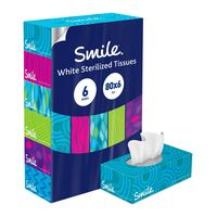Smile facial tissues 80 sheets x 6 pack