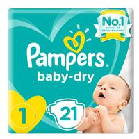 Pampers New Baby-Dry Diapers, Size 1, Newborn, 2-5kg, Carry Pack, 21 Count
