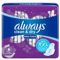 Always Clean & Dry Maxi Thick Large Sanitary Pads with Wings 30 Pads