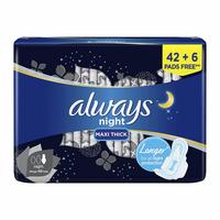 Always night maxi thick longer pads with wings 42 + 6 pads