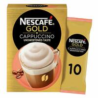 Nescafe Gold Cappuccino Unsweetened Taste Coffee 14.2g x Pack of 10 Sachets