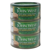 John West Light Meat Tuna Solid In Sunflower Oil 170g x Pack of 3