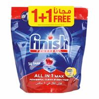 Finish power ball dishwasher detergent all in one lemon sparkle all in 1 max lemon sparkle 14 tabs + 14 free