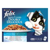Purina Felix Doubly Delicious Fish Selection In Jelly Wet Cat Food 100g x Pack of 12
