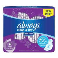 Always Clean & Dry Maxi Thick Large sanitary Pads with Wings 60 Pads