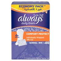 Always Daily Liners Comfort Protect Individually Wrapped 40 Count