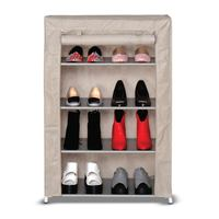 Shoe rack with zipper