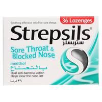 Strepsils Menthol Flavor Sore Throat And Blocked Nose 36 Tablet