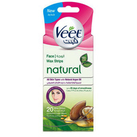 Veet Natural Face Wax Strips with Argan Oil 20 Strips