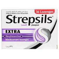 Strepsils Extra Blackcurrant Sore Throat Pain Relief 36 Tablet