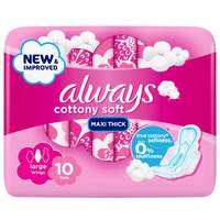 Always Cottony Soft Maxi Thick Large Sanitary Pads with Wings 10 Count